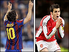 Lionel Messi and Cesc Fabregas