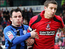 Rochdale striker Chris Dagnall and Bournemouth defender Jason Pearce