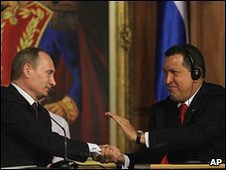 Hugo Chavez, Vladimir Putin in Caracas, 2 April