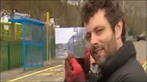 Michael Sheen at a bus stop in Baglan, Port Talbot