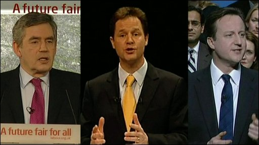 Gordon Brown, Nick Clegg and David Cameron, the leaders of the main political parties