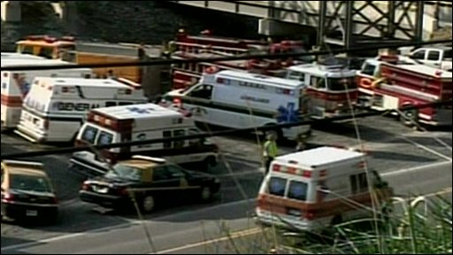 Emergency vehicles gathered at the Big Branch mine