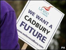 Cadbury demonstrator's sign
