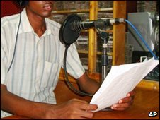 A Somali radio presenter broadcasts from Mogadishu, April 2010    