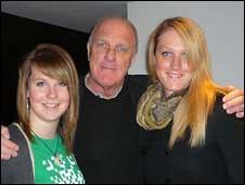 BBC Radio Devon presenter Richard Digance with daughters Polly and Rosie