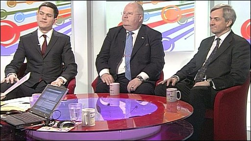 David Miliband, Eric Pickles and Chris Huhne
