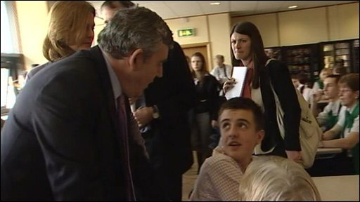 "Morrisons supermarket worker ask Gordon Brown if he ""fancy's a job"""