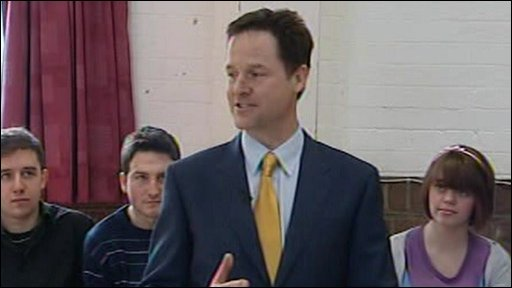 Nick Clegg talking to school pupils