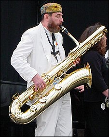 Jim Barrett performing with Wonderbrass