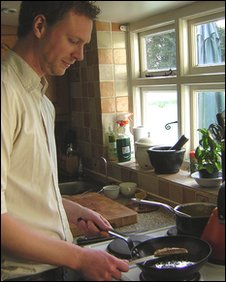 Alex Rushmer in his kitchen at home