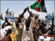 SPLM supporters chant at demonstration in Khartoum on 4 April 2010
