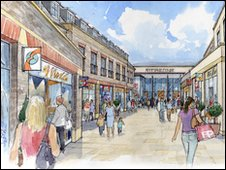 Artist's impression of the proposed shopping area on Charles Street, Dorchester. Courtesy of West Dorset District Council.