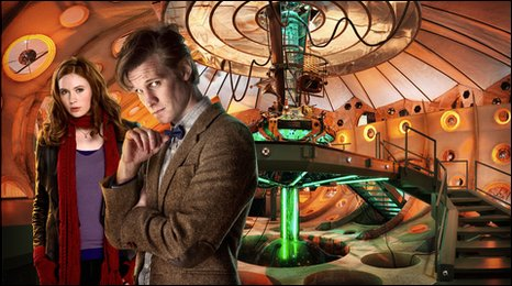 Doctor Who, assistant Amy Pond and the inside of the new TARDIS