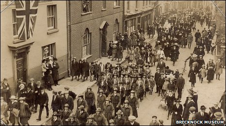 Brownies marching through Brecon - date unknown.