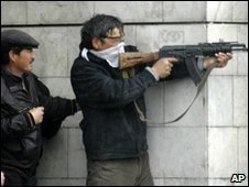Armed men in the capital Bishkek