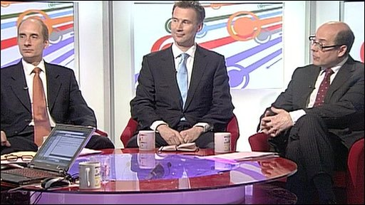 Andrew Adonis, Jeremy Hunt and Nick Robinson
