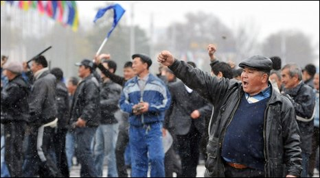 Protestors in Bishtek