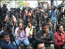Media outside Sania Mirza's house