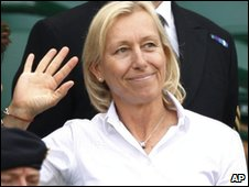 Navratilova waves from the royal box at Wimbledon in June 2009
