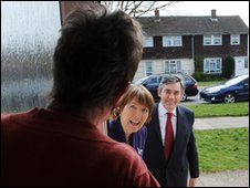 Harriet Harman and Gordon Brown canvassing