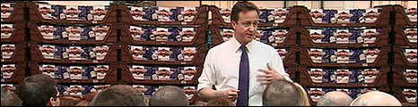 David Cameron delivers a speech at a bakers