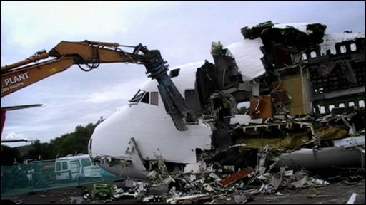 Jumbo jet being demolished