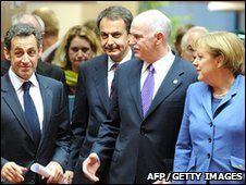 French President Nicolas Sarkozy, Spanish Prime Minister Jose Luis Zapatero, Greek Prime Minister George A. Papandreou and German Chancellor Angela Merkel