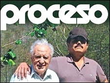 "Julio Scherer Garcia (left) with Ismael ""El Mayo"" Zambada on the cover of Proceso"