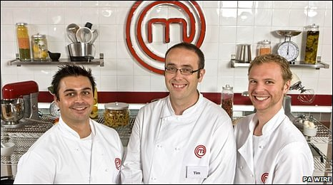 Dhruv Baker (left), Tim Kinnaird (centre) and Alex Rushmer (right), finalists of Masterchef (Photo: PA WIRE)