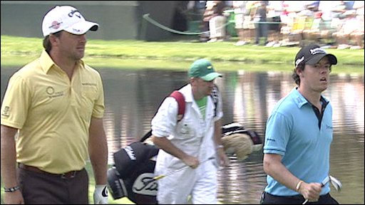 Graeme McDowell and Rory McIlroy heading to the 16th green at Augusta