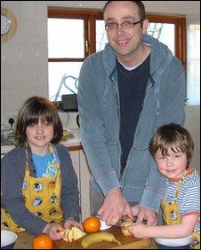 Dr Tim Kinnaird with his children