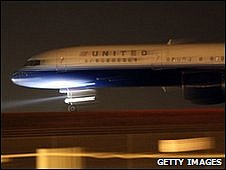 The United Airlines jet arrives in Denver