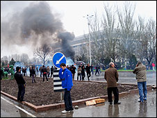 Tear gas fired into the crowd in Bishkek