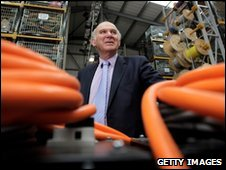 """Vince Cable visits the """"Stage Technologies"""" warehouse in Brent,"""