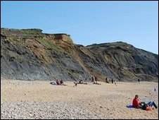 Charmouth Beach and landslip