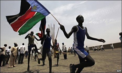 SPLM supporter waving a flag ahead of elections