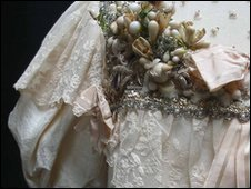 Detail of wedding dress shoulder