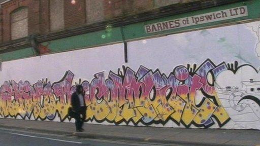 Graffiti on derelict shop