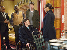 Adam Best in a scene from EastEnders