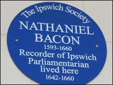 Ipswich Society blue plaque for Nathaniel Bacon