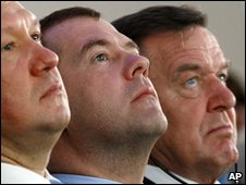 Gazprom CEO Alexei Miller, Russian President Dmitry Medvedev and former German Chancellor Gerhard Schroeder