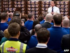 Gavin Cameron speaking to bakery workers in Bolton West last week