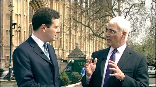 Chancellor Alistair Darling (right) and Shadow chancellor George Osborne