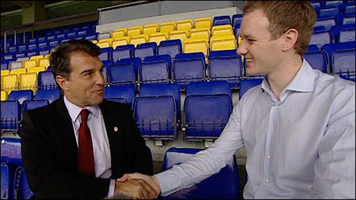 Barcelona president Joan Laporta with Football Focus's Dan Walker