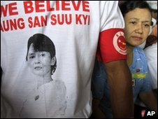 Aung San Suu Kyi supporter wears a T-shirt bearing her image on 23 March 2010