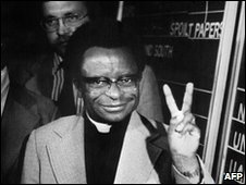 Bishop Abel Muzorewa on 24 April 1979 in Salisbury (Harare)