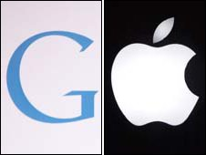 Google and Apple (right) logos