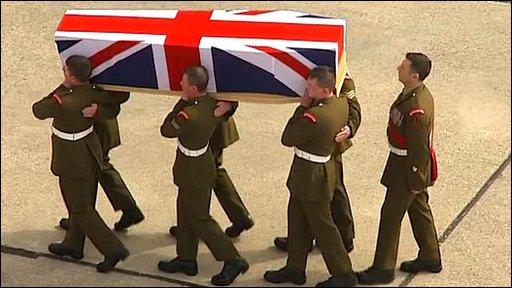 Repatriation of Guardsman Michael Sweeney, 19, of Blyth