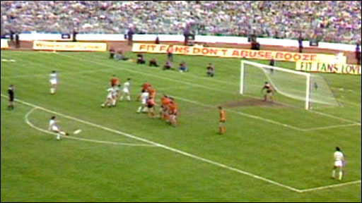 Davie Provan scores for Celtic with a stunning free-kick