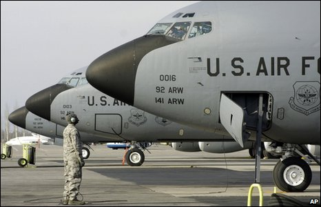 US military planes at Manas military base, Kyrgyzstan, file pic from 2009